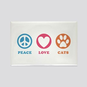Peace Love Cats [r] Rectangle Magnet